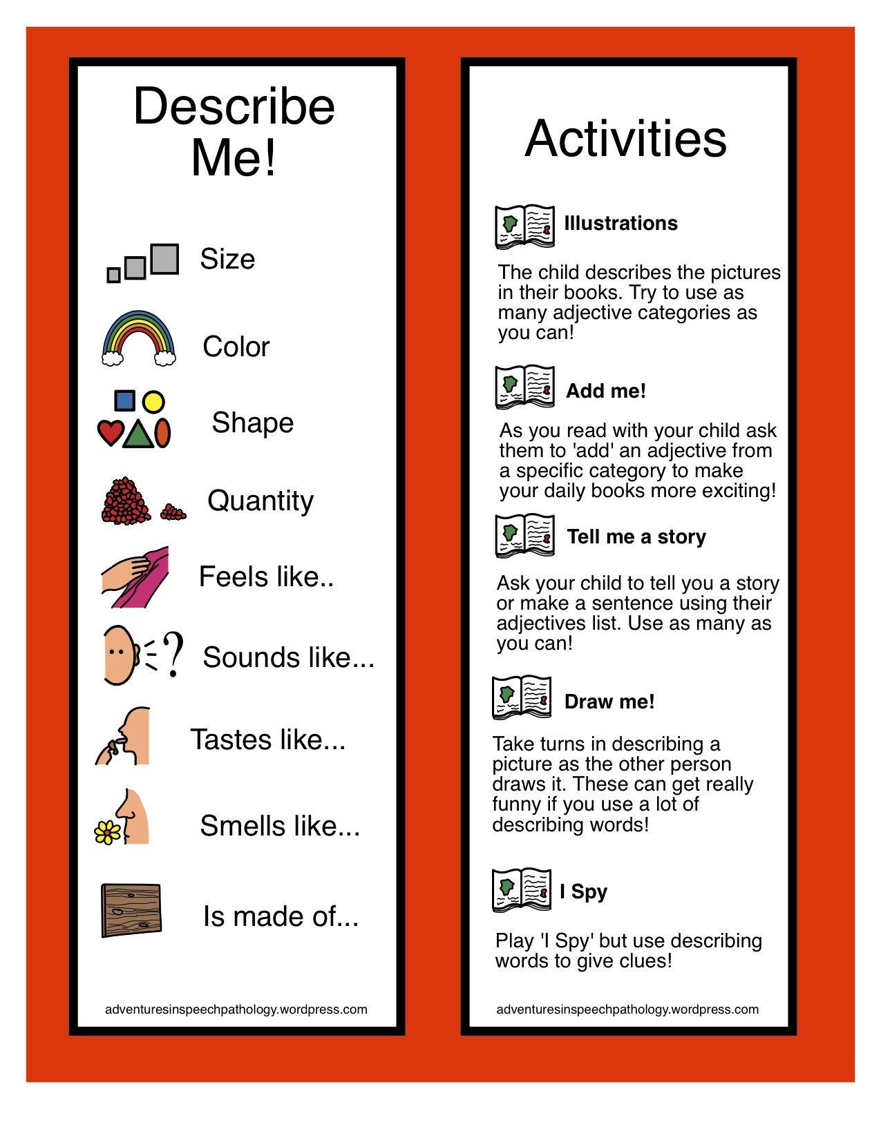 Adjectives Develop Your Description Freebie