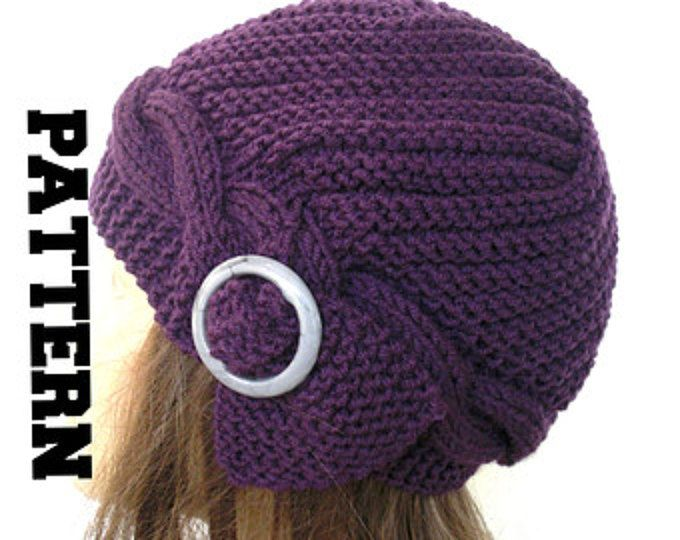 PDF Instant Download Knitting Hat Pattern - Flapper Cloche Hat for ...