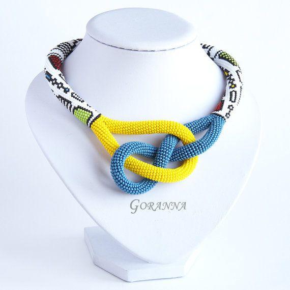 Bead crochet necklace Techno by GorannaBeads on Etsy