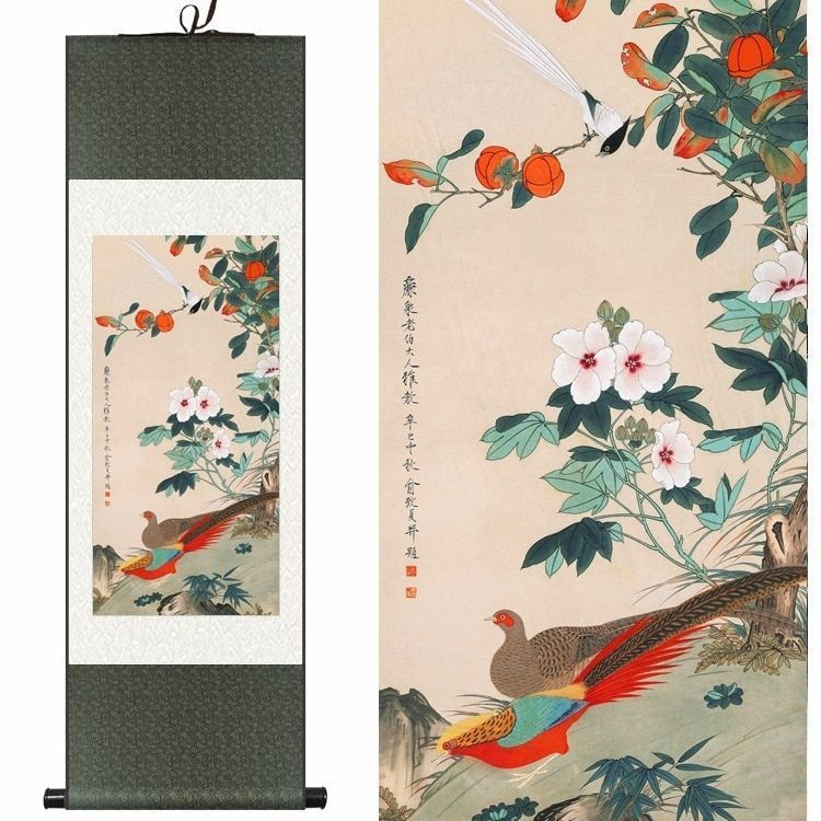 #chinese #silk #watercolor #flower #bird #persimmon #azalea #ink #art #print #feng #shui #canvas #wall #picture #damask #framed #scroll #painting #home #garden