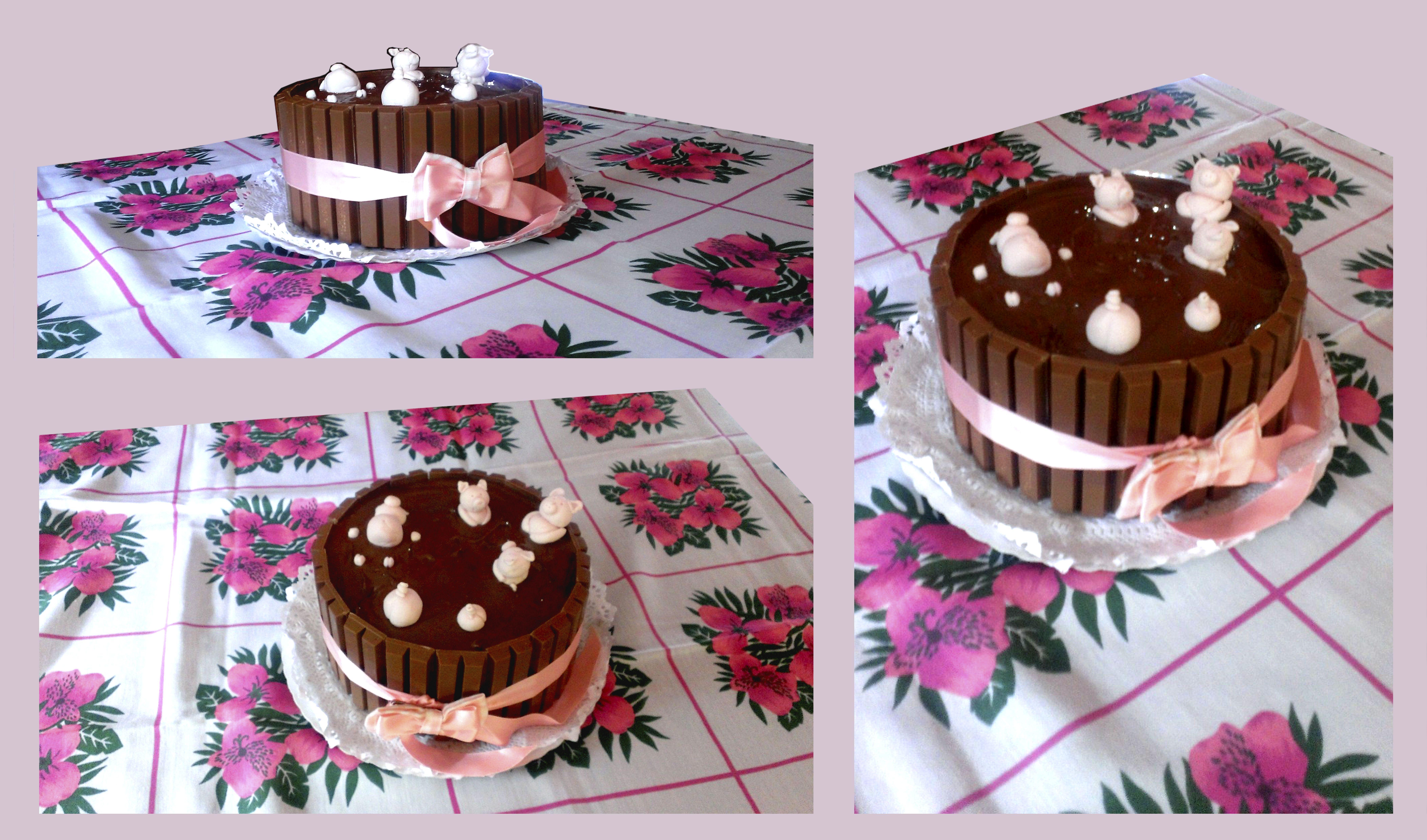 Tarta De Cerditos De Fondant Bañándose En Frosting De Chocolate Frosting De Chocolate Tartas Chocolate