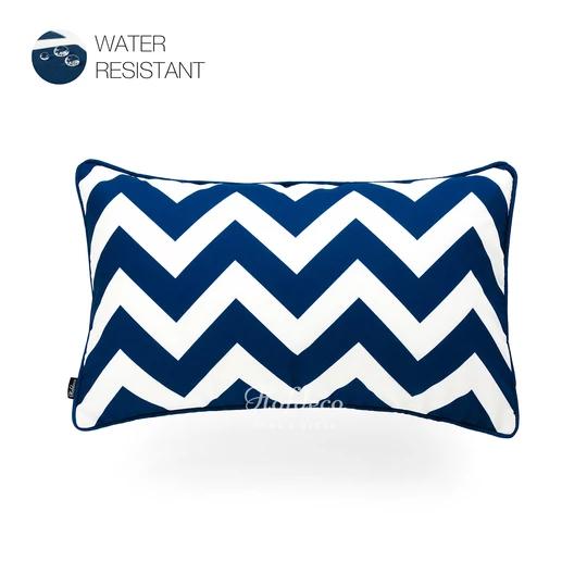 Navy Blue Outdoor Lumbar Pillow Cover Chevron 12 X20 Lumbar Pillow Cover Blue Geometric Pillow Geometric Pillow