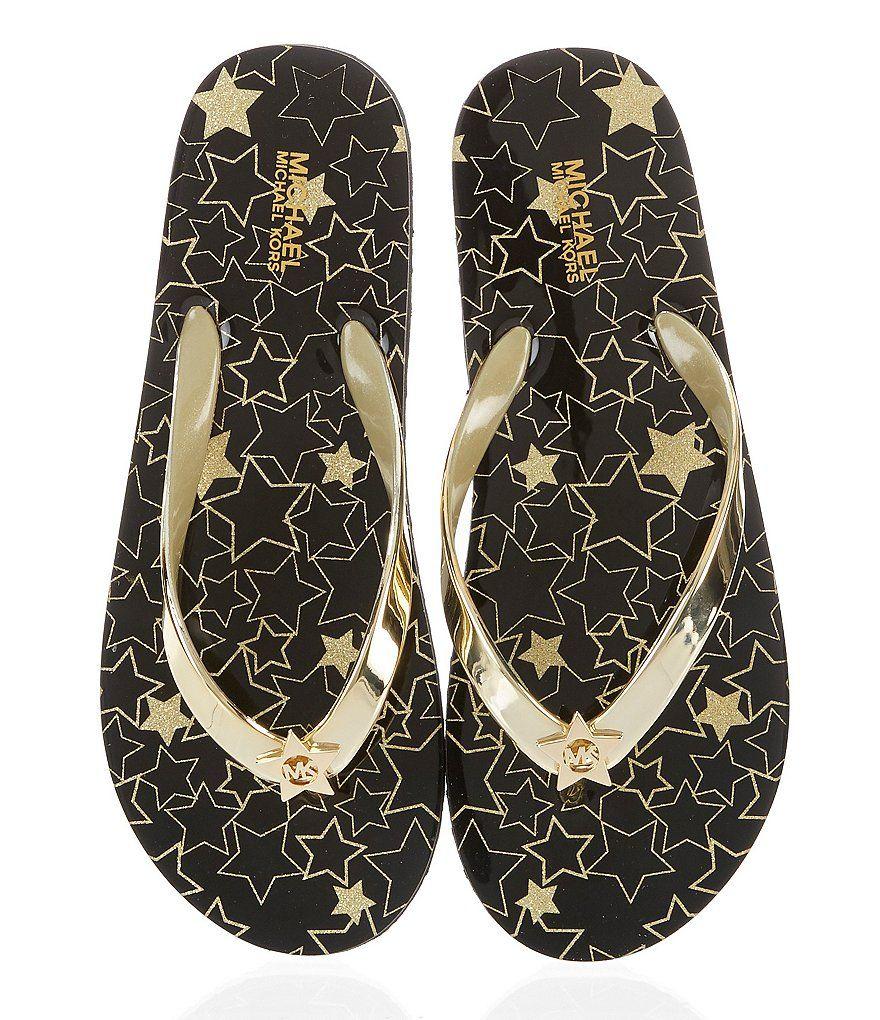 9004abc153bf Black Gold MK Star Flip Flops