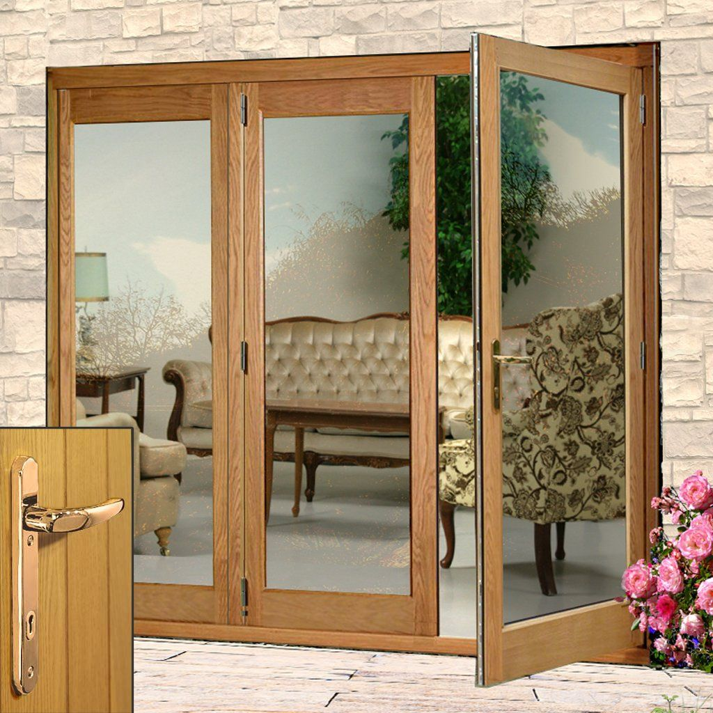 La Porte Oak French Door Pair Side Frame Left With Brass Fittings