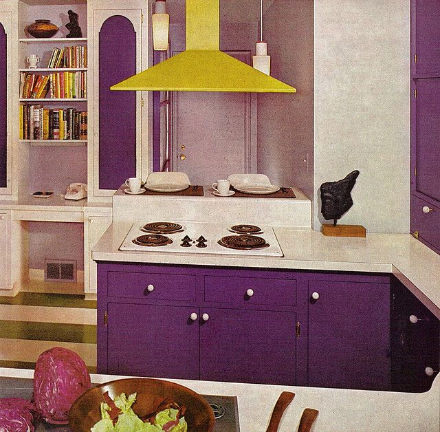 Lora S Vintage Style Kitchen Makeover: 70s Purple Kitchen, Practical Encylopedia Of Good Decorating And Home Improvement, 1970