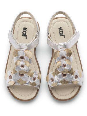 See Kai Run Johanna Silver Metalillc T-Strap Sandal