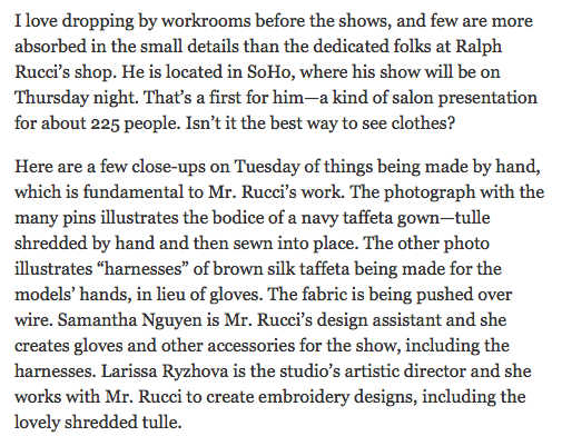 Frivolous Obsessions - from the New York Times by Cathy Horyn