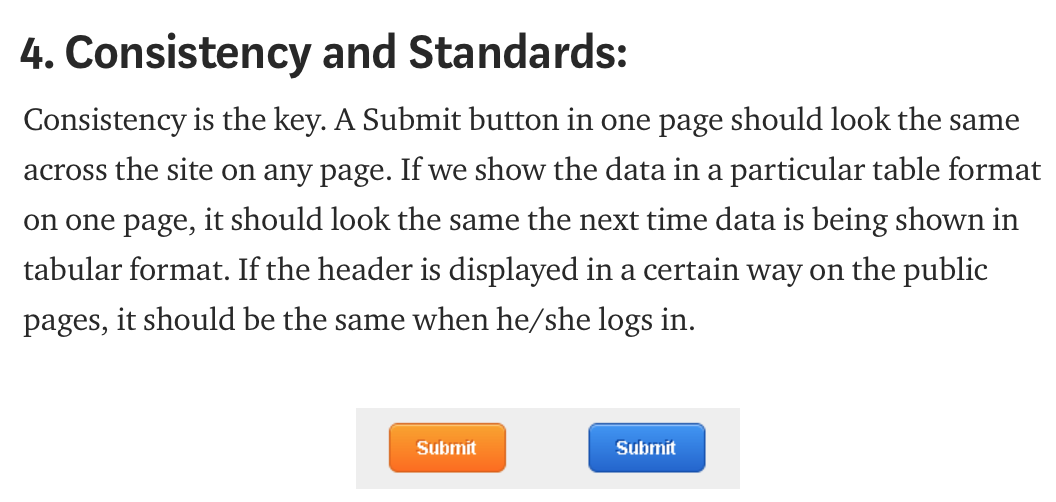 Heuristic Consistency Principles First Page Usability
