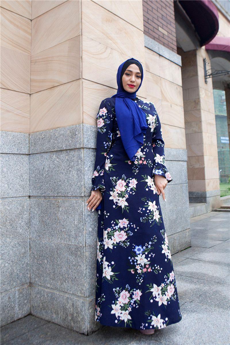 0080db62c12 Navy blue floral islamic long dress   navyblue floraldress Flowerprinting islamidress muslimwear