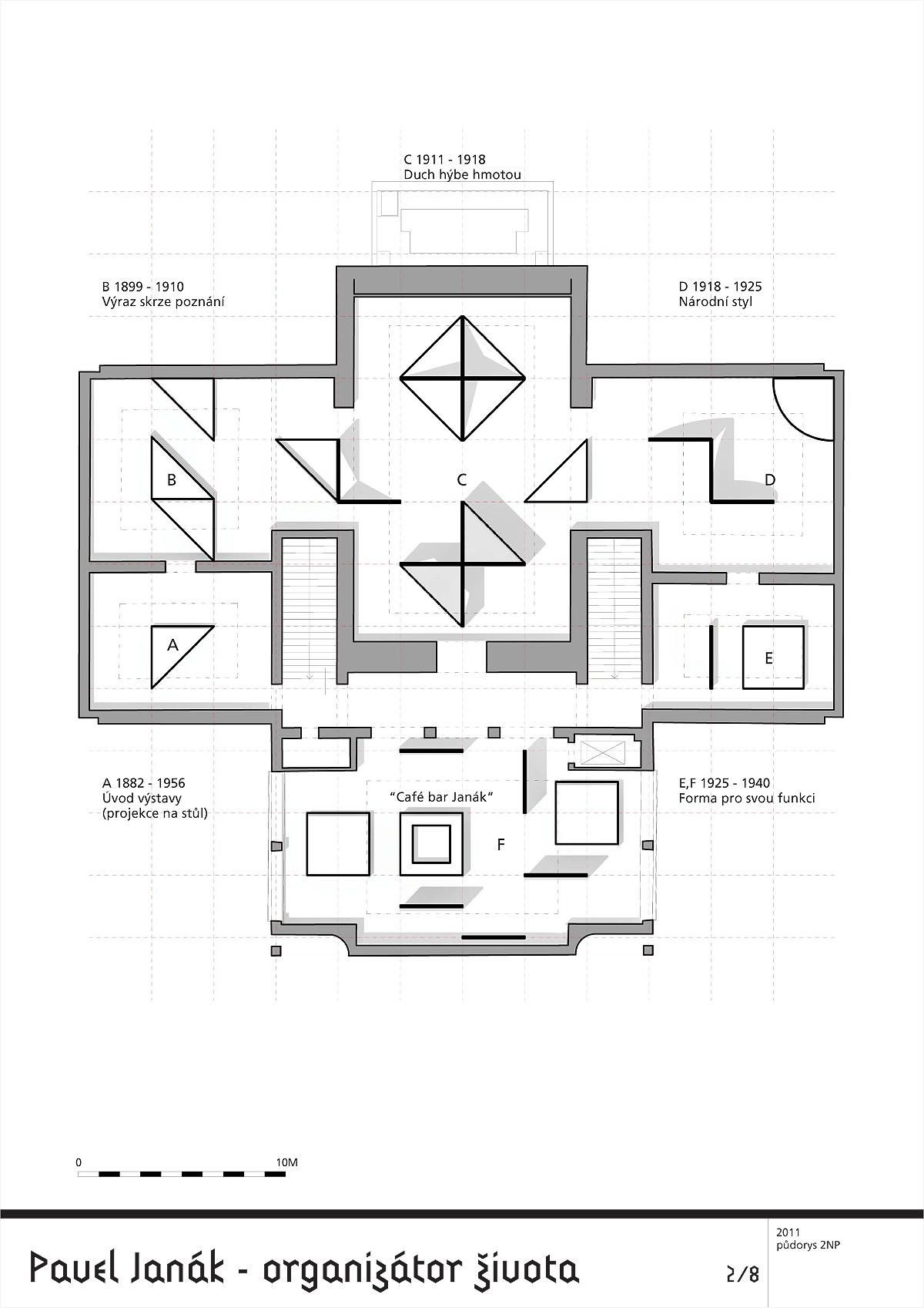 Exhibition Plan D : Abstracting forms of pavel janák architecture is the main