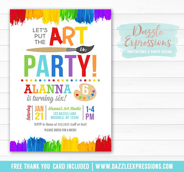 Printable Painting Art Party Birthday Invitation – What to Put on a Birthday Invitation