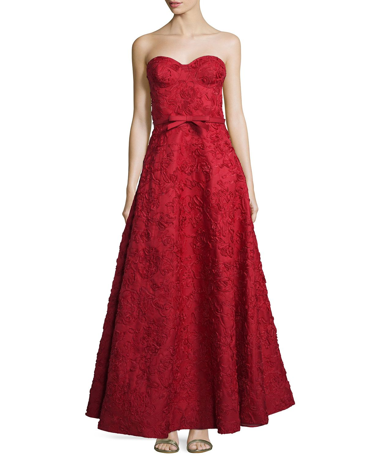 Michael Kors Strapless Bustier Floral-Embroidered Gown, Crimson ...