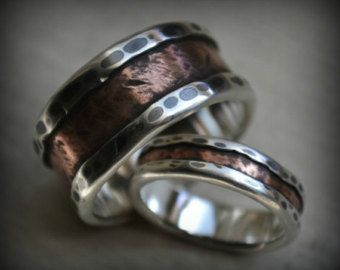 rustic wedding ring set fine silver and copper and brass - Rustic Wedding Rings