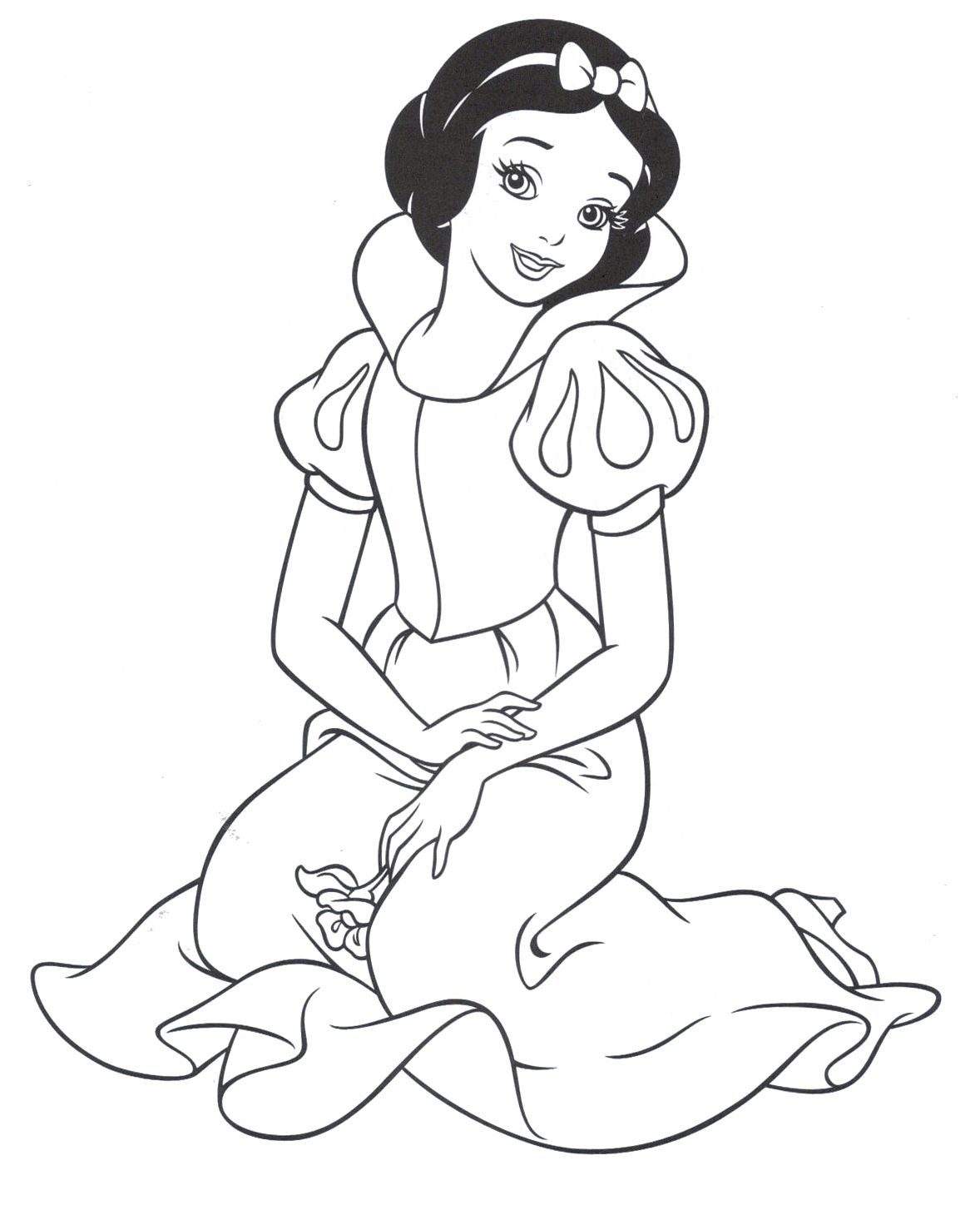 Princess Snow White Was Sitting Very Cute Coloring Pages | Coloring ...