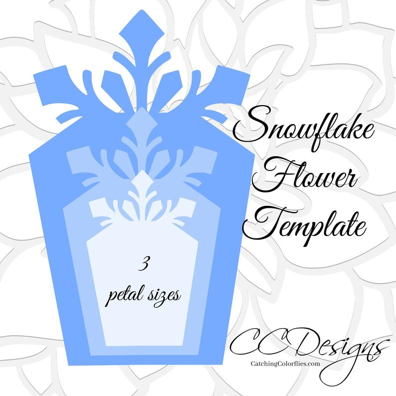 Large Paper Snowflakes Template, DIY Giant Paper Flowers