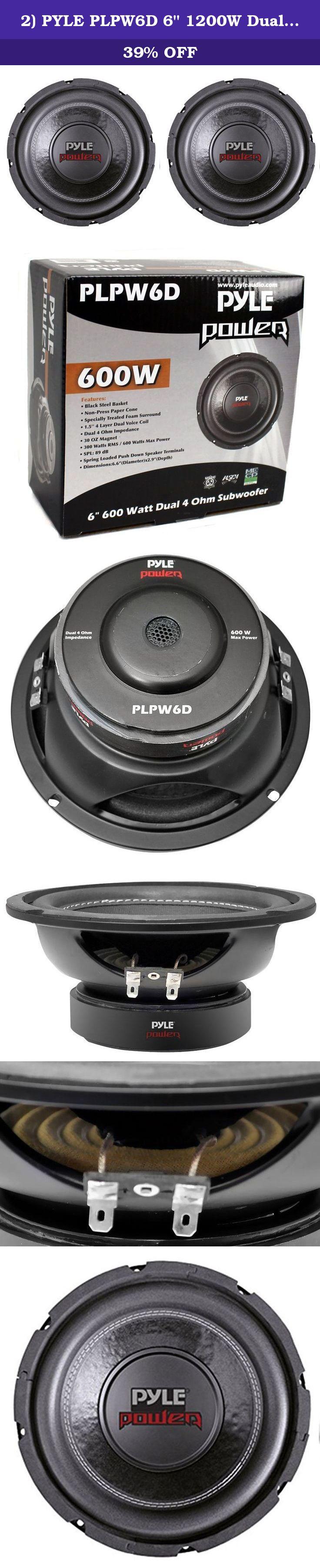 """2 PYLE PLPW6D 6/"""" 1200W Dual Voice Coil 4-Ohm Black Car Stereo Audio Subwoofers"""