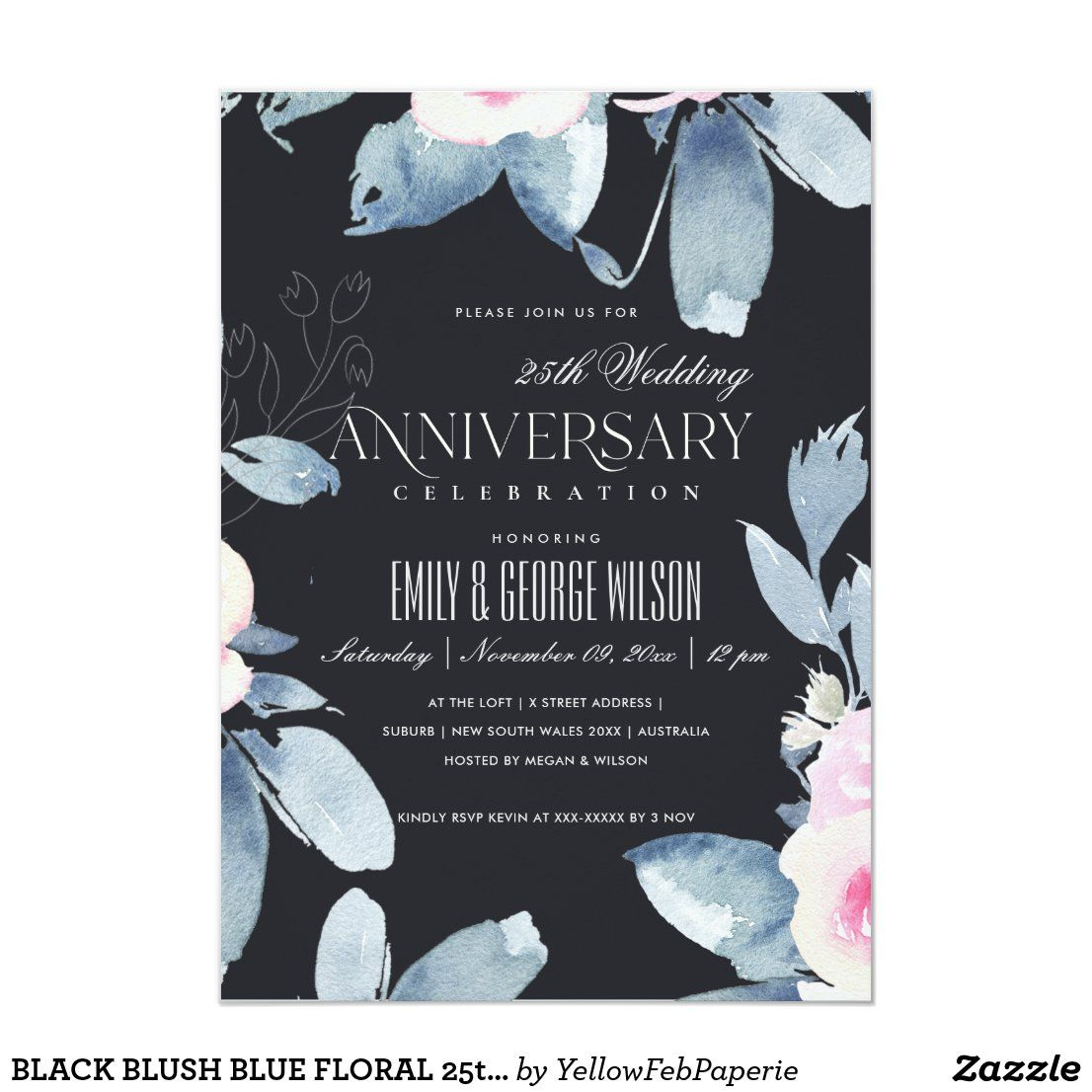 BLACK BLUSH BLUE FLORAL 25th ANY YEAR ANNIVERSARY