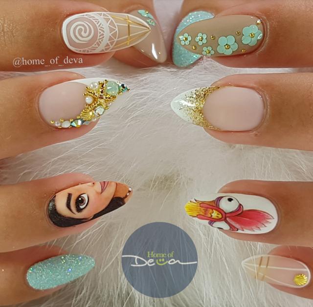 Moana Disney Nails Designs: Moana And Hei Hei Nail Art By Home_of_Deva. #Disney
