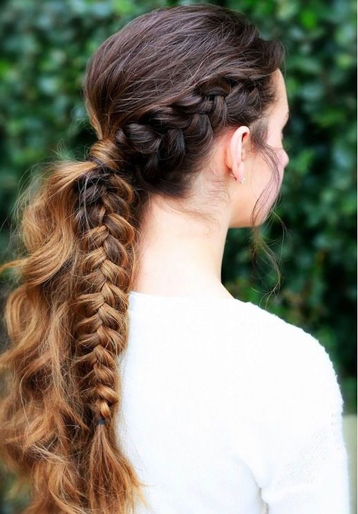 21 Braid Ideas For Long Hair // half braided - half wavy ombre ponytail #hairstyle