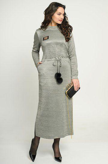 de06838c8c7 Красивое удлиненное трикотажное платье с воротником-стойкой
