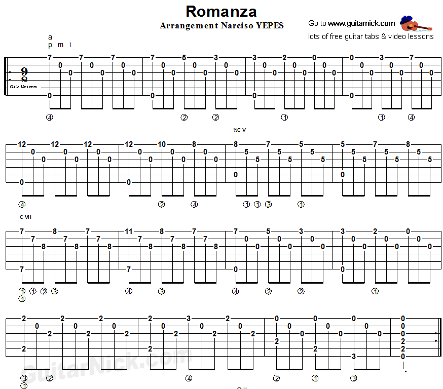 Guitar Chord Tabs: Spanish Romance, Fingerstyle Guitar Tablature 1