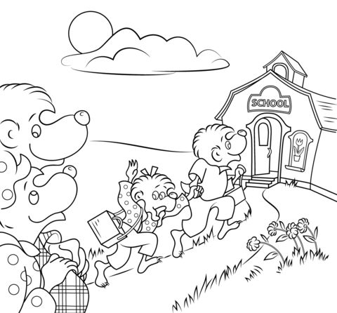 Berenstain Bears Go To School Coloring Page Free Printable Coloring Pages Bear Coloring Pages School Coloring Pages Coloring Pages