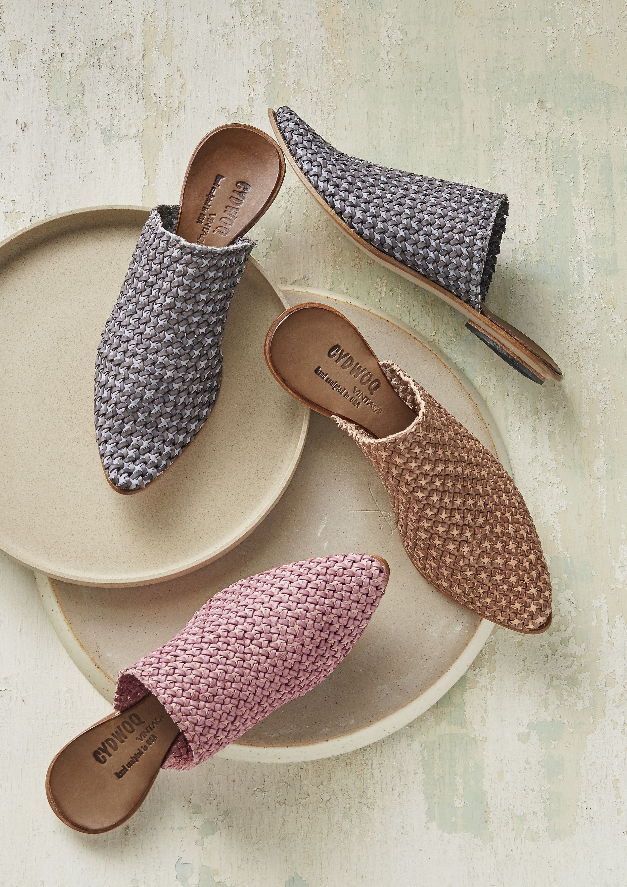 Orient Star Mules - Mules with two-tone, woven leather. By CYDWOQ.