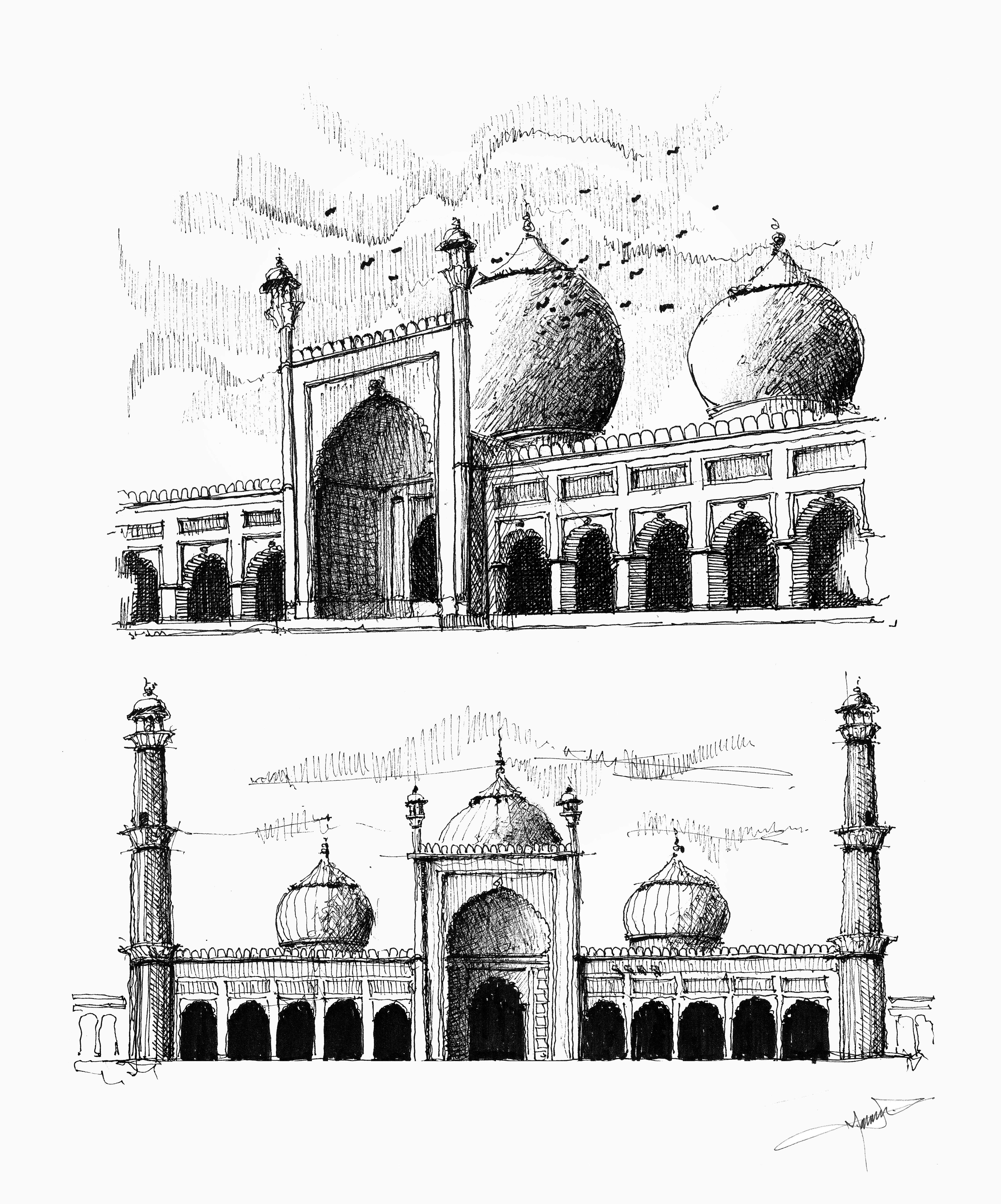Jama Masjid Old Delhi India Ink Drawing Copyright C 2017