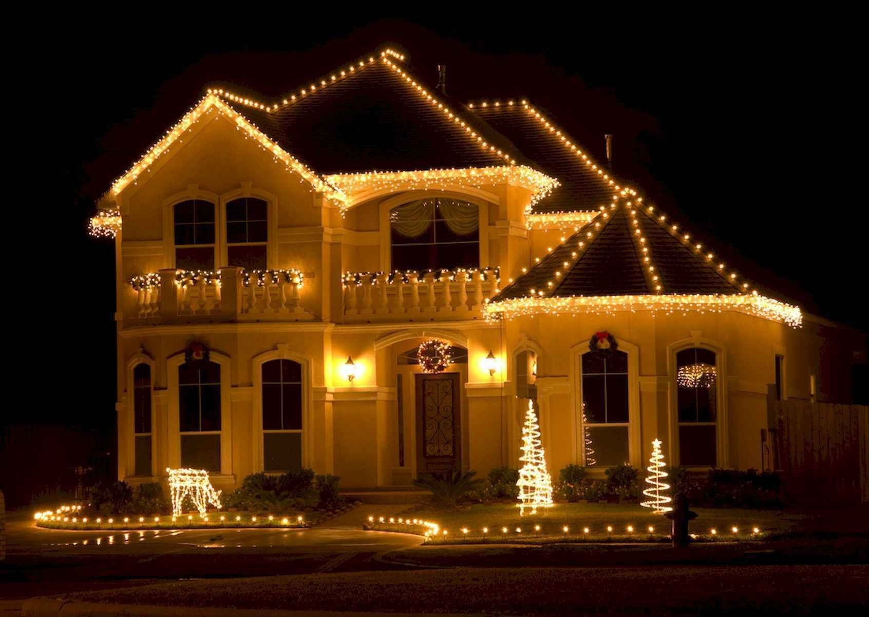 50 Awesome Outdoor Christmas Decor Ideas And Makeover White Christmas Lights Christmas Light Installation Outdoor Led Christmas Lights