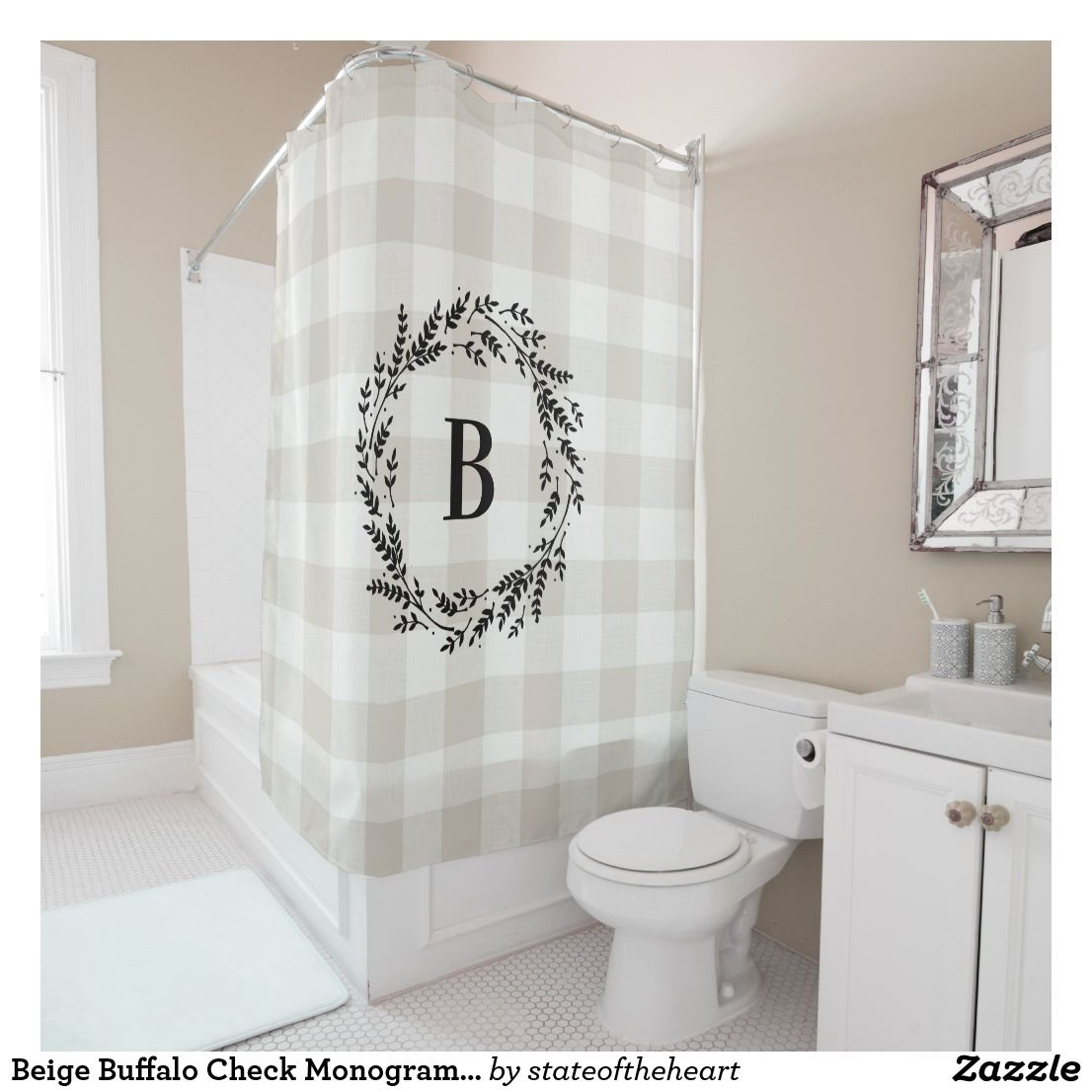 Beige Buffalo Check Monogram Farmhouse Bathroom Shower Curtain
