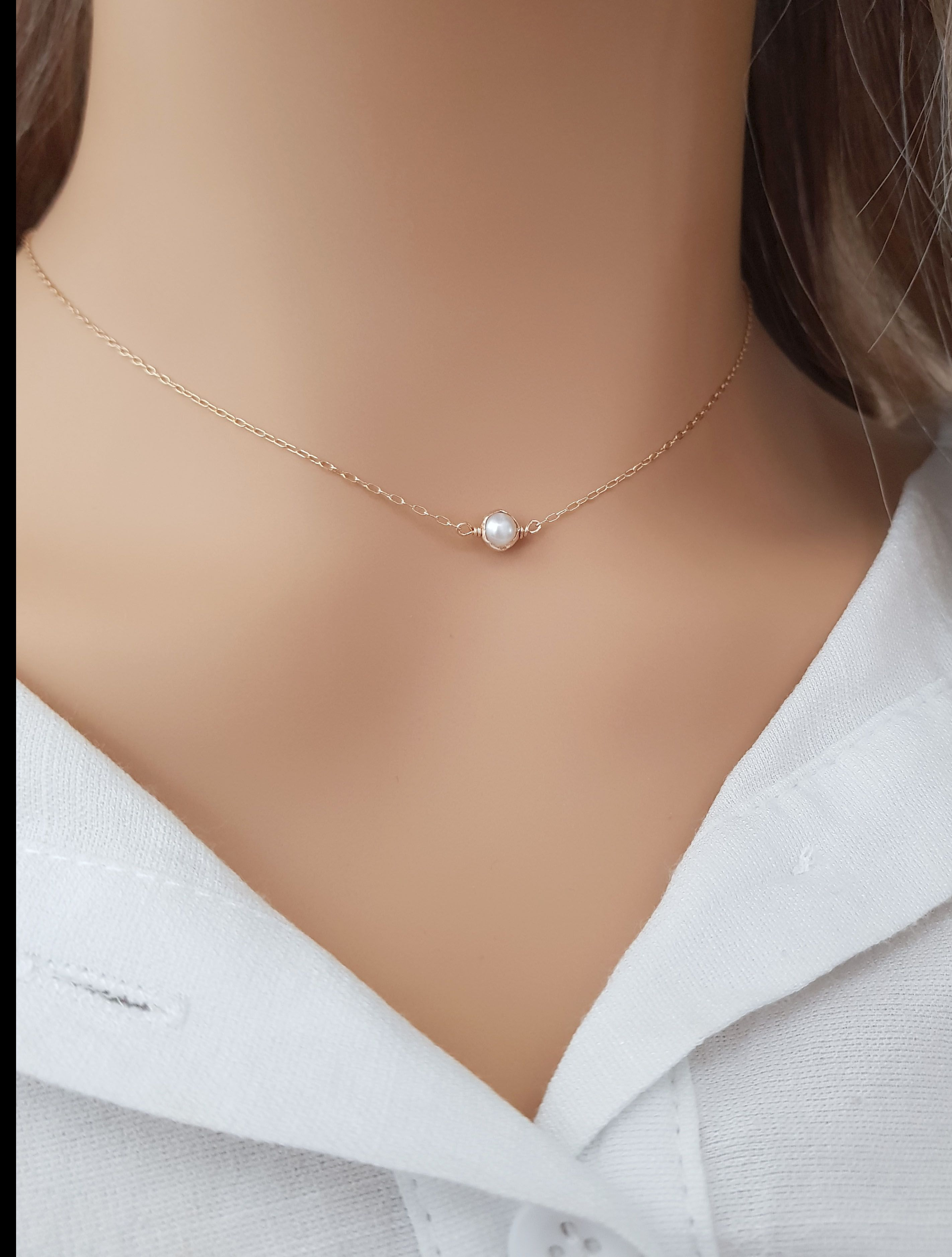 Photo of Simple Pearl Necklace, 14k Gold Filled Pearl Necklace, Single Pearl Necklace, Bridesmaid Necklace, Dainty Jewelry, Simple Necklace