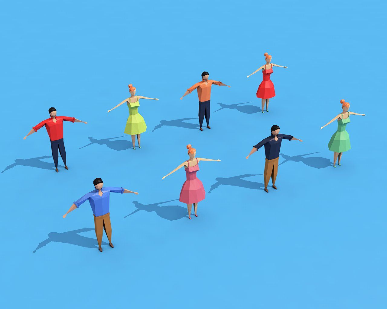 Low Poly Rigged Characters #work#plugins#Formats#properly
