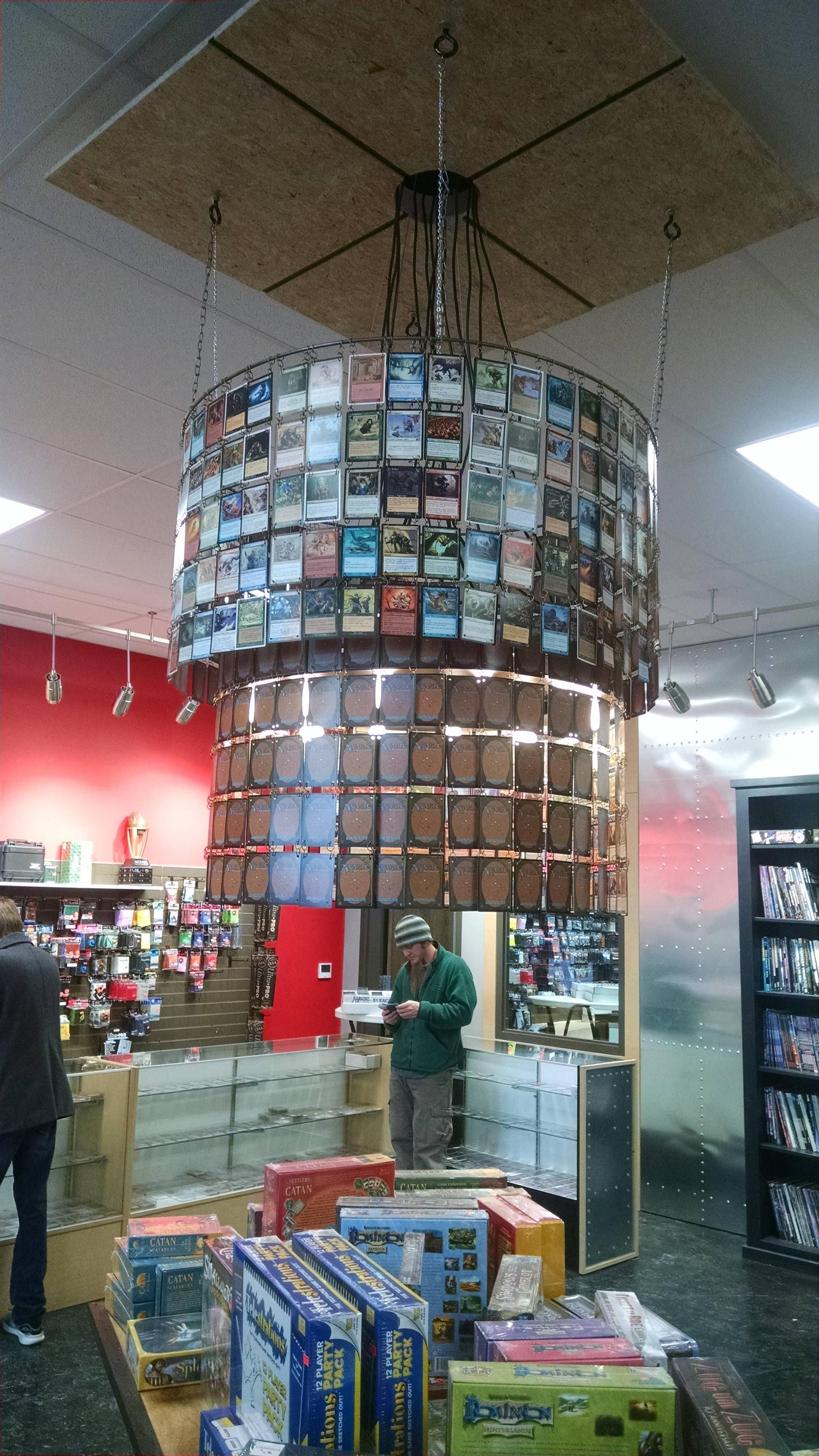 A Local Gaming Shop Made A Chandelier Out Of Magic Cards How To Make A Chandelier Magic Cards Magic The Gathering