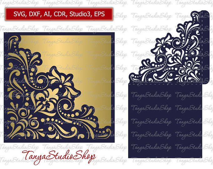 Mariage Invitation Svg Dxf Ai Crd Eps Studio3 Vintage Lace Laser Papier Coupe Silhouette Invitations Wedding Invitations Wedding Invitations Rsvp