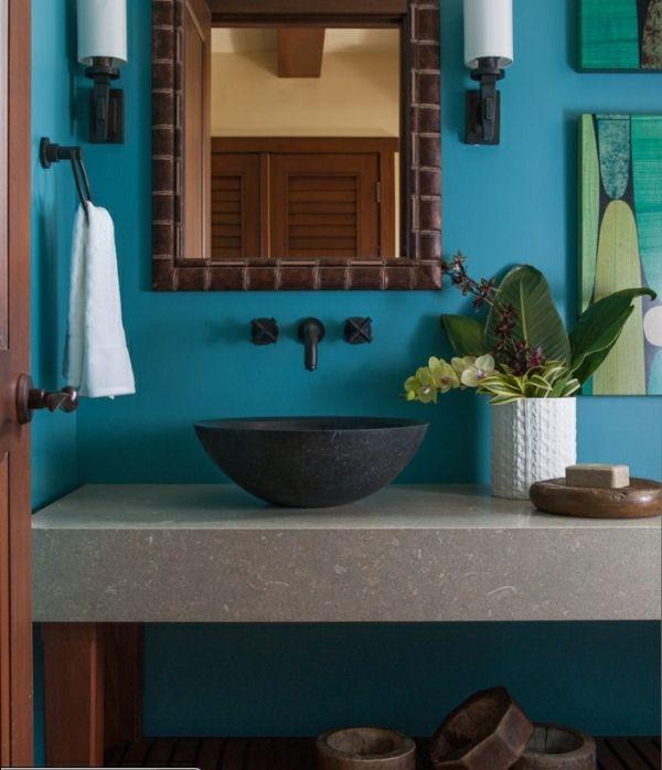 blau Waschtisch Stein Holzbeine schöne Bad Möbel Badezimmer - schöne badezimmer ideen