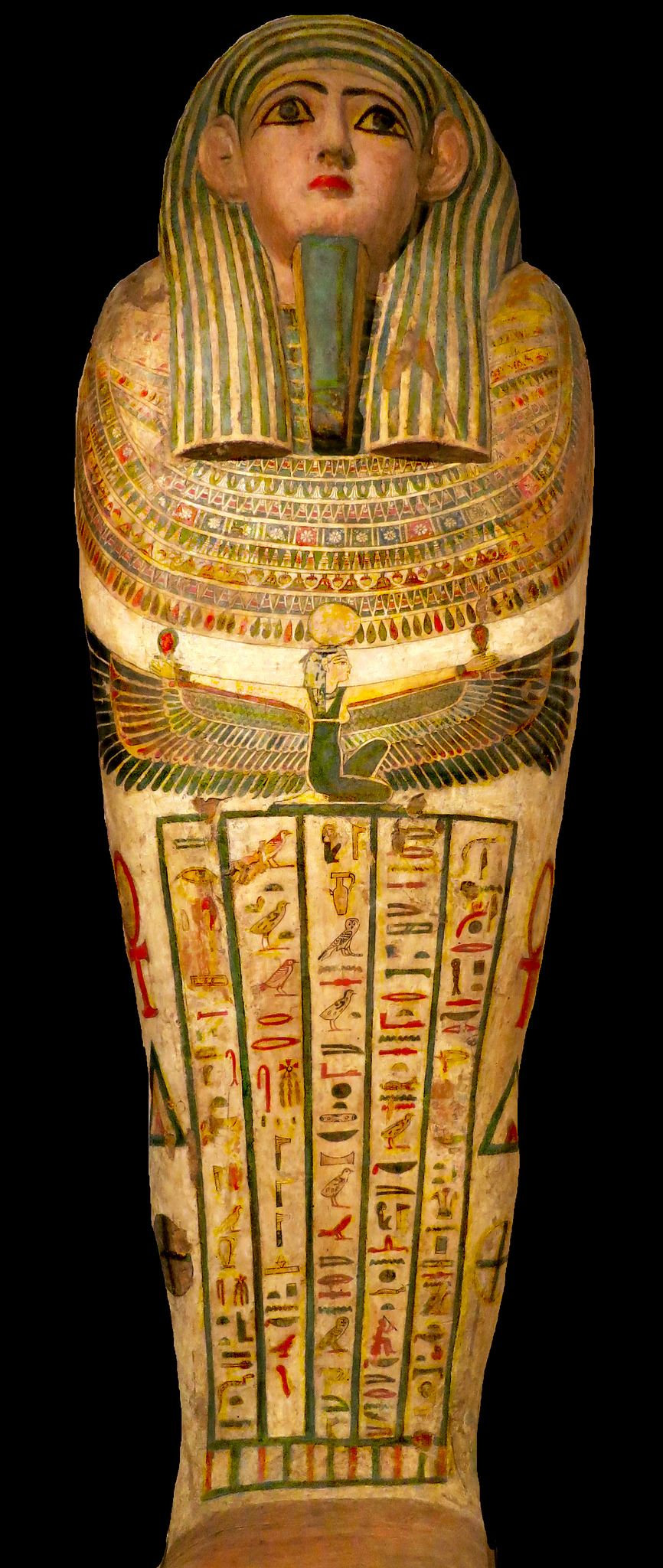 https://flic.kr/p/rtkQ2D | Painted wooden anthropoid coffin of an unknown person / Изрисуван антропоиден ковчег на неизвестен покойник | It is supposed that the coffin was made during the New Kingdom period ( 1786 BC - 1069 BC). In the center Isis holding ankhs ( ancient Egyptian hierogliph significating symbol of life) is depicted  with outstreched wings.   Предполага се, че ковчегът е изработен по време на Новото царство ( 1786 г. пр. Хр. - 1069 г. пр. Хр.). В центъра на ковчега е…