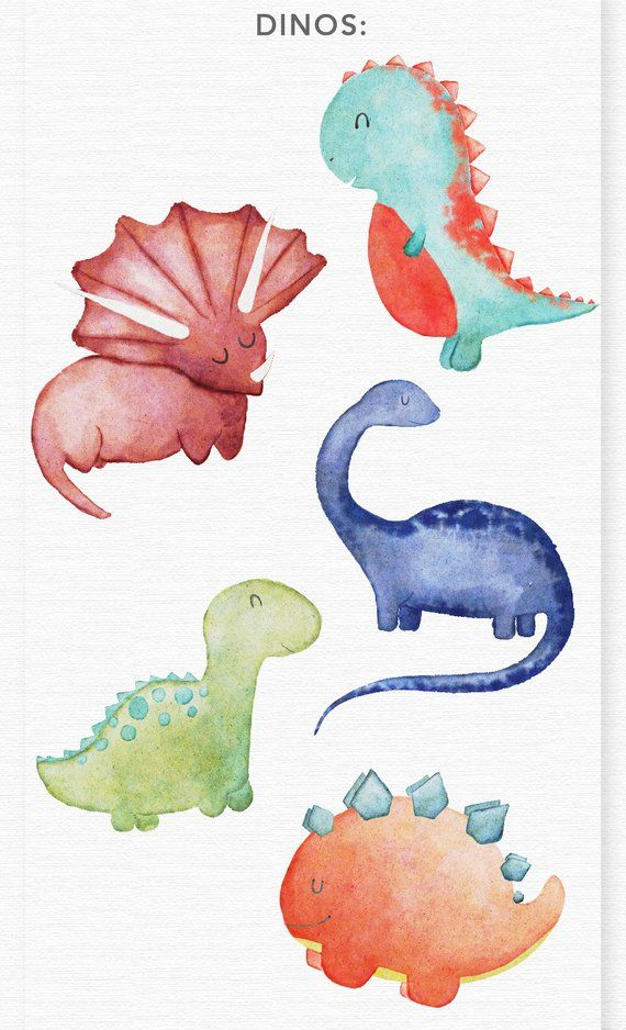 WATERCOLOR DINOSAUR CLIPART, commercial use watercolor clipart, dino nursery decor graphics, jurassic park, birthday baby shower clipart #dinosaurillustration