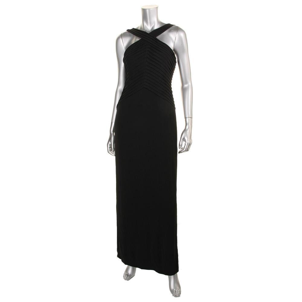 Calvin Klein Womens Matte Jersey Pintuck Evening Dress