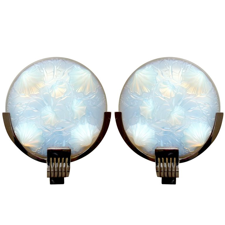 French Art Deco Pair of Sconces Signed Verlys