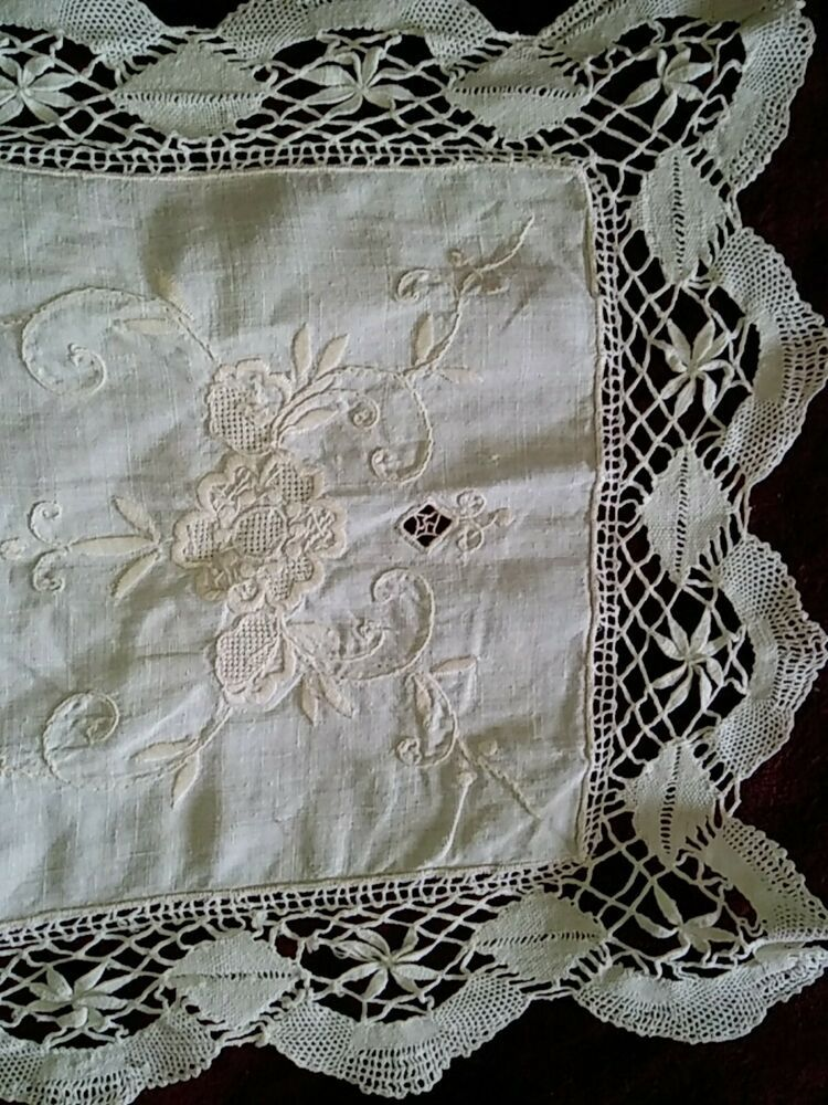 Vintage Embroidered Linen Crochet Ecru Lace Table Runner Dresser Scarf 40 X 12 Lace Table Runners Lace Table Linen Placemats
