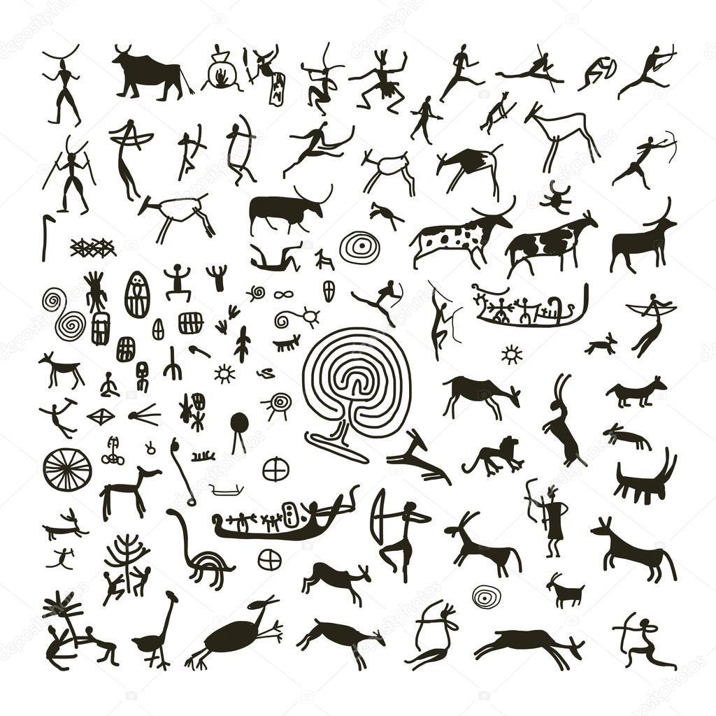 Descargar Pinturas Rupestres Boceto Para Su Diseno Ilustracion De Stock 42702539 Arte Rupestre Dibujos Rupestres Pinturas Rupestres
