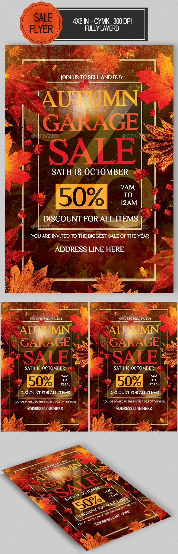 Autumn Garage Sale Flyer  Psd Template  Only Available Here