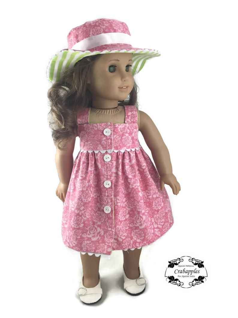 Fun in the Sun PDF Sewing Pattern for 18 dolls Hat and Dress Bundle #dollhats