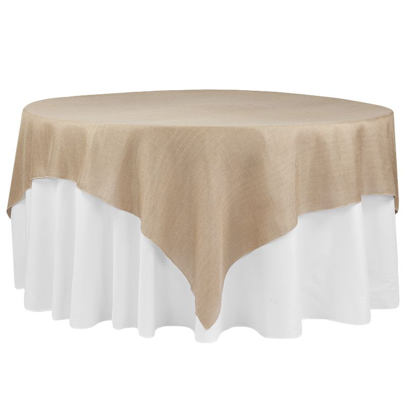 Faux Burlap Table Overlay Topper Tablecloth 85 X85 Square Blush