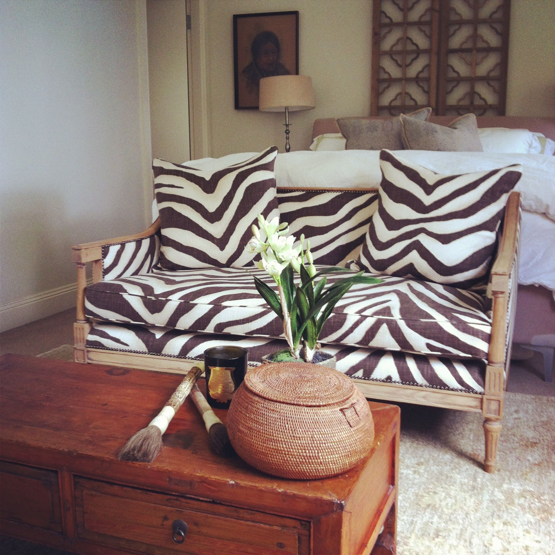 Ralph Lauren Tangiers Zebra on a vintage sofa eBay find stripped