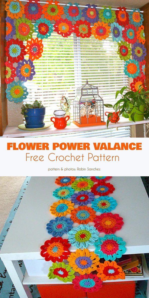 Flower Power Valance Free Crochet Pattern   – Häckeln
