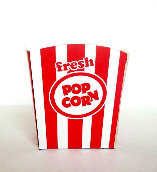 Popcorn Box Printable Instant Download Pdf Carnival Popcorn Red White Stripes Diy Old Fashioned Retro Popcorn Party Movie Night Popcorn