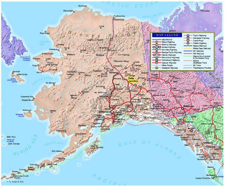 Detailed Map Alaska Maps Click thumbnails to view larger maps