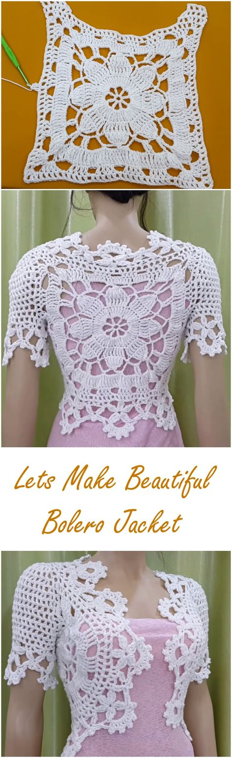 Beautiful Bolero Jacket Crochet Tutorial Chalecos Pinterest