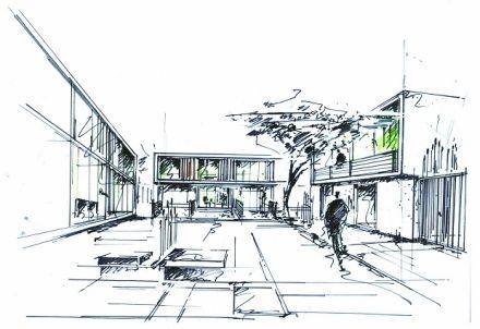Ansicht der geplanten wohnbebauung skizze skizzen skizzen ansicht und geplant - Architektur skizzen zeichnen ...